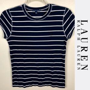 Ralph Lauren Navy Striped T-shirt Sz L